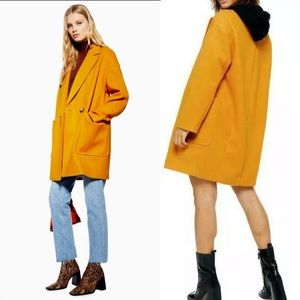 NEW Topshop Carly Slouch Coat Mustard Jacket
